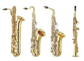 Fra venstre: Barytonsax, tenorsax, altsax og sopransax.